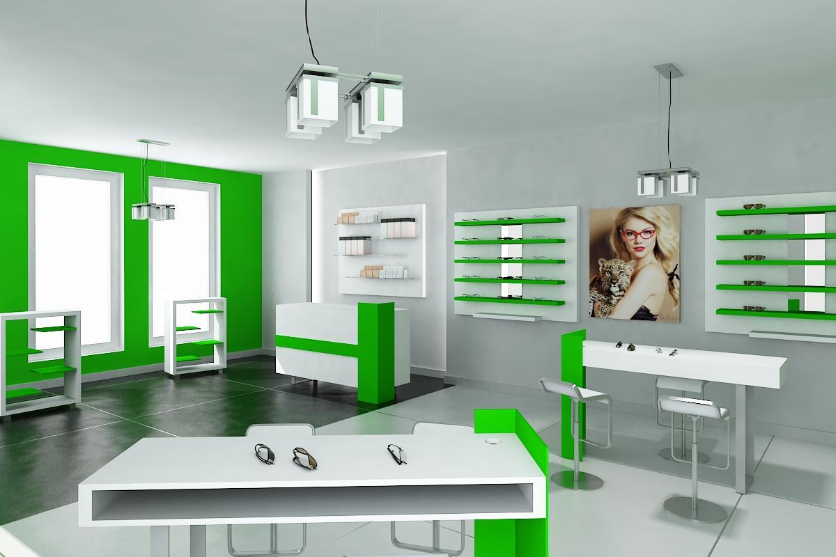 Óptica con acabados en madera y color verde