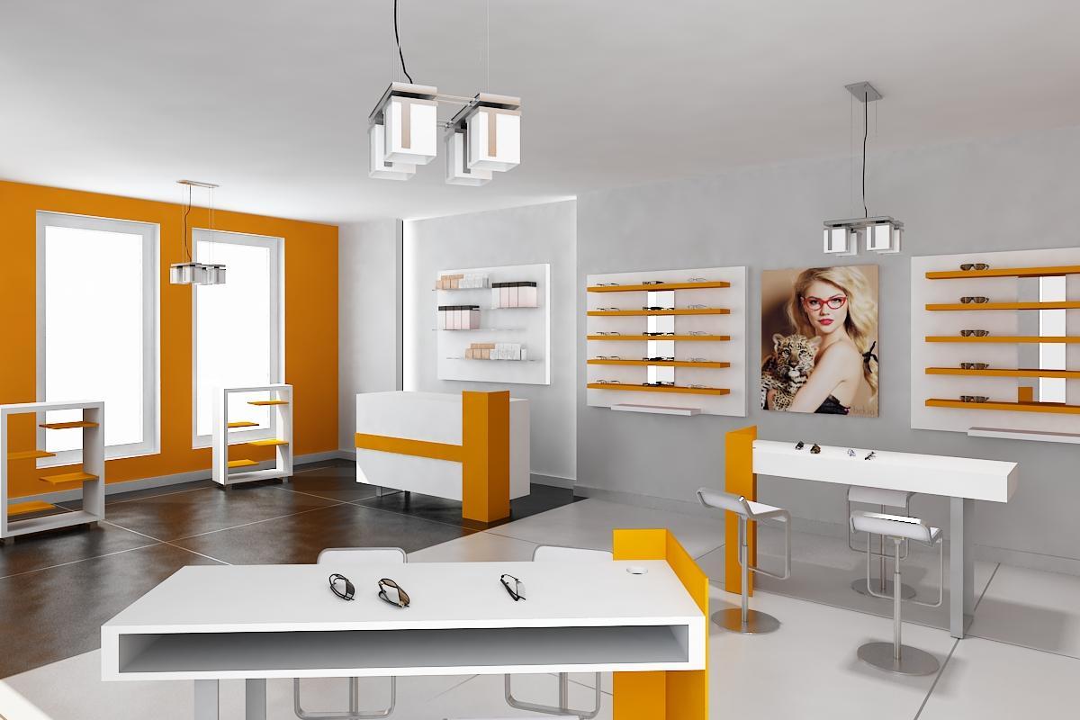 Óptica con acabados en madera y color naranja